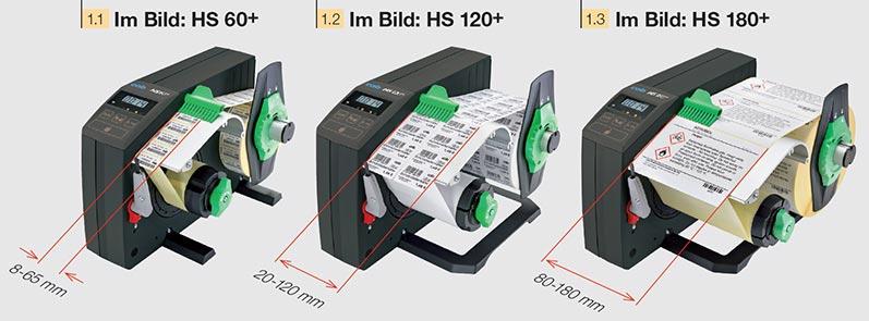 Drei Materialbreiten für Etikettenspender HS und VS