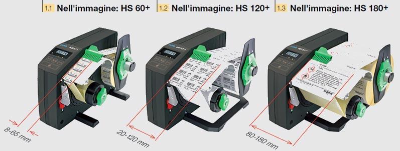 Con i modelli HS e VS tre larghezze possibile per il materiale da stampare